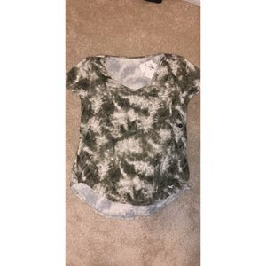 white and olive green t-shirt